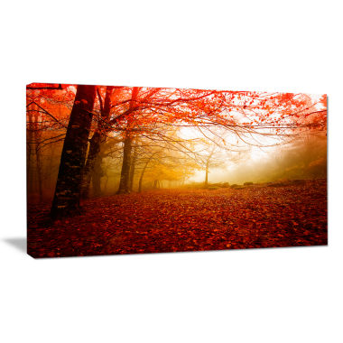Designart Yellow Sun Rays In Red Forest LandscapePhotography Canvas Print