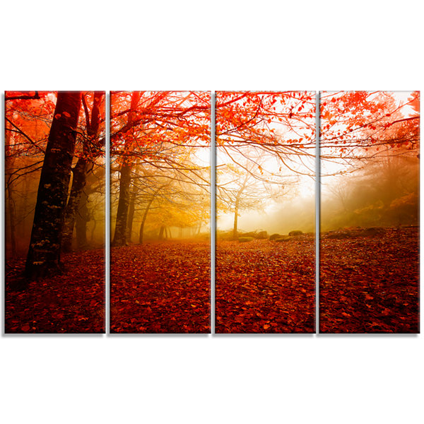 Designart Yellow Sun Rays In Red Forest LandscapePhotography Canvas Print - 4 Panels