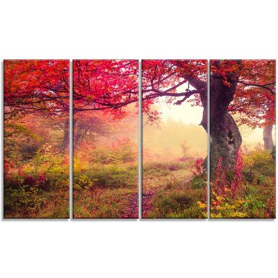 Designart Red Autumn Tree In Carpathian LandscapePhotography Canvas Print - 4 Panels