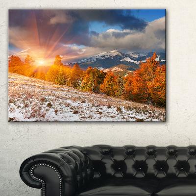 Designart First Snow In Carpathian Mountains Landscape Photography Canvas Print
