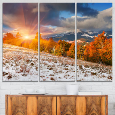 Design Art First Snow In Carpathian Mountains Landscape Photography Canvas Print - 3 Panels