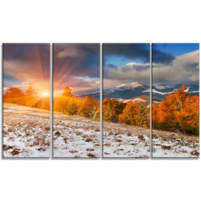 Designart First Snow In Carpathian Mountains Landscape Photography Canvas Print - 4 Panels