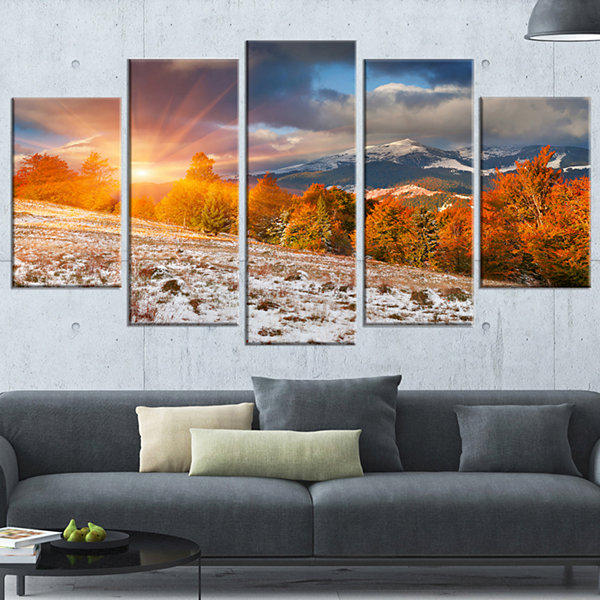 Designart First Snow In Carpathian Mountains Landscape Photography Canvas Print - 5 Panels
