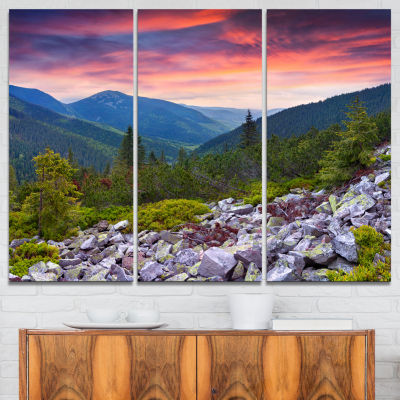Designart Stones Under Summer Sunset Landscape Photo Canvas Art Print - 3 Panels