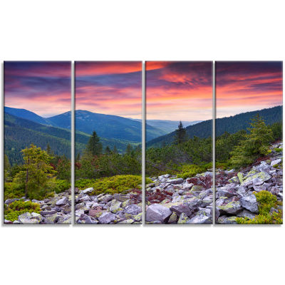 Designart Stones Under Summer Sunset Landscape Photo Canvas Art Print - 4 Panels
