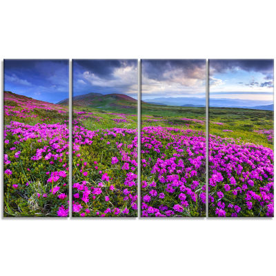 Design Art Rhododendron Flowers In Mountains Landscape Photography Canvas Print - 4 Panels