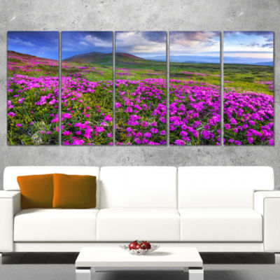 Designart Rhododendron Flowers In Mountains Landscape Photography Canvas Print - 5 Panels
