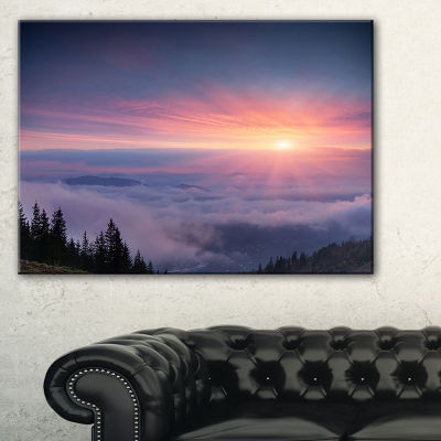 Design Art Sunrise In Purple Sky Over Mountains Landscape Photography Canvas Print