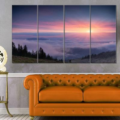Designart Sunrise In Purple Sky Over Mountains Landscape Photography Canvas Print - 4 Panels