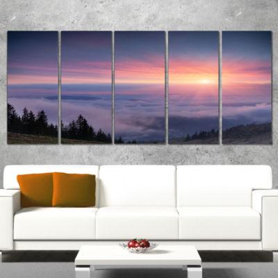 Designart Sunrise In Purple Sky Over Mountains Landscape Photography Canvas Print - 5 Panels