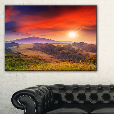 Designart Cold Morning Fog With Red Hot Sun Landscape Photography Canvas Print