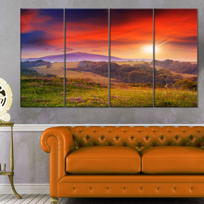 Designart Cold Morning Fog With Red Hot Sun Landscape Photography Canvas Print - 4 Panels