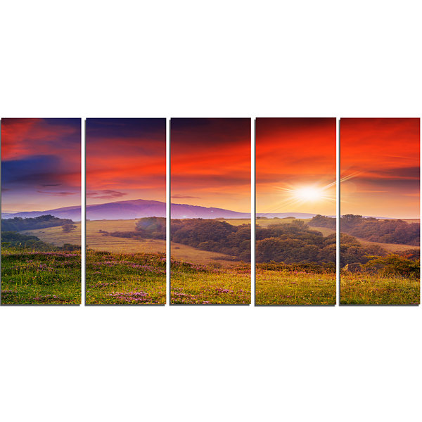 Designart Cold Morning Fog With Red Hot Sun Landscape Photography Canvas Print - 5 Panels