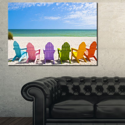 Designart Adirondack Beach Chairs Seashore Photo Canvas Art Print