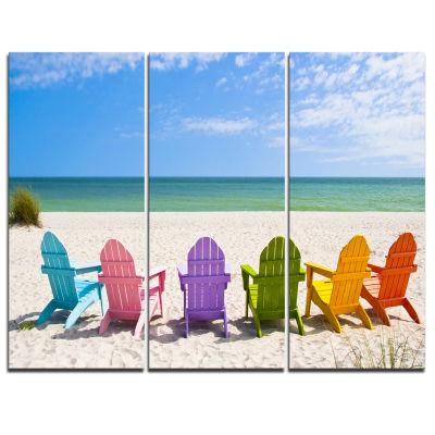 Designart Adirondack Beach Chairs Seashore PhotoCanvas Art Print - 3 Panels