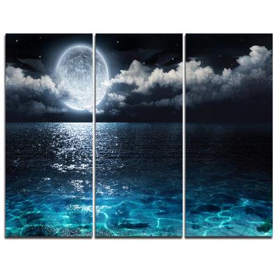 Designart Romantic Full Moon Over Sea Canvas Art Print - 3 Panels