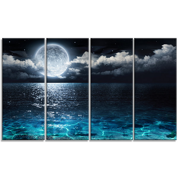 Designart Romantic Full Moon Over Sea Canvas ArtPrint - 4 Panels
