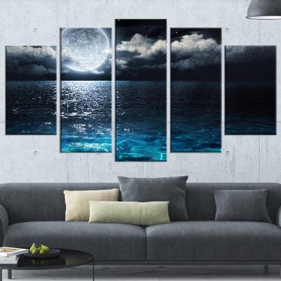 Designart Romantic Full Moon Over Sea Canvas ArtPrint - 5 Panels