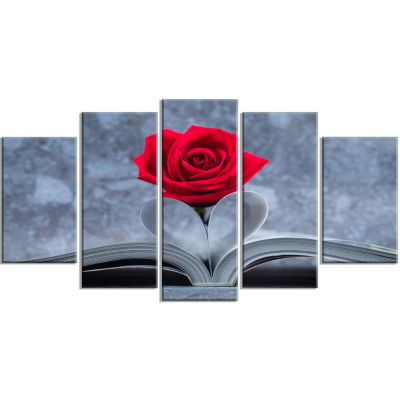 Designart Red Rose Inside The Book (373) Floral Canvas Art Print - 5 Panels