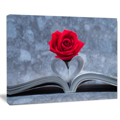 Design Art Red Rose Inside The Book Floral Canvas Art Print