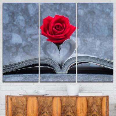 Design Art Red Rose Inside The Book Floral CanvasArt Print - 3 Panels