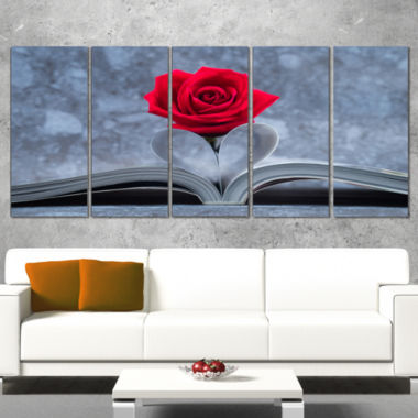 Designart Red Rose Inside The Book Floral Canvas Art Print   5 Panels
