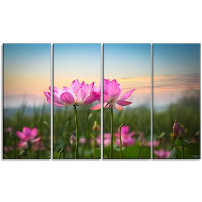 Designart Blooming Lotus Flowers At Sunset PhotoCanvas Print - 4 Panels