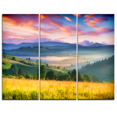 Designart Beautiful Mountainous Region Landscape Painting Canvas Art Print - 3 Panels