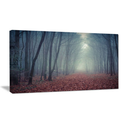 Designart Retro Style Misty Path In Forest Landscape Photography Canvas Print