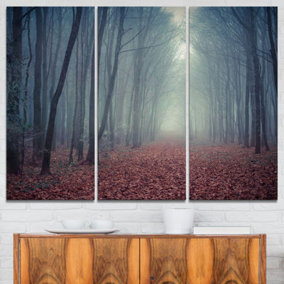 Designart Retro Style Misty Path In Forest Landscape Photography Canvas Print - 3 Panels