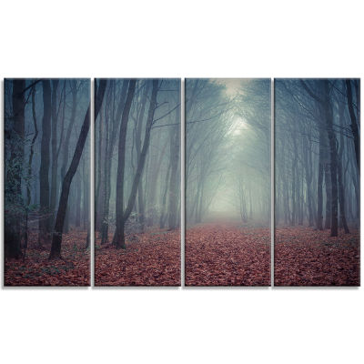 Design Art Retro Style Misty Path In Forest Landscape Photography Canvas Print - 4 Panels