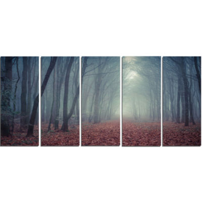 Designart Retro Style Misty Path In Forest Landscape Photography Canvas Print - 5 Panels