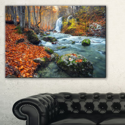 Designart Forest With Red And Orange Leaves Landscape Photography Canvas Print