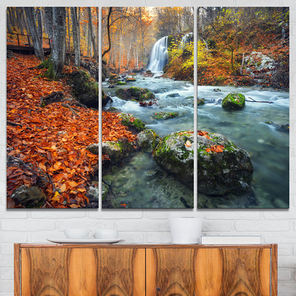 Designart Forest With Red And Orange Leaves Landscape Photography Canvas Print - 3 Panels