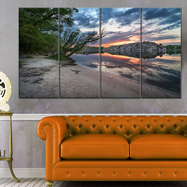 Designart Sunset At River With Rock Landscape Photo Canvas Art Print - 4 Panels