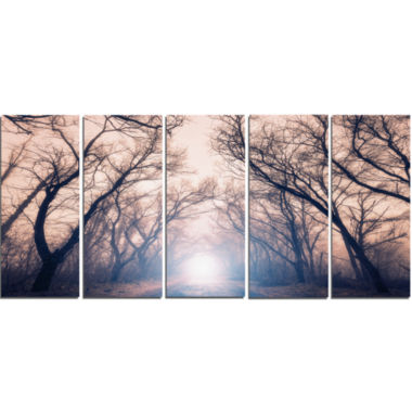 Designart Mysterious Sunlight In Forest LandscapePhoto Canvas Art Print - 5 Panels