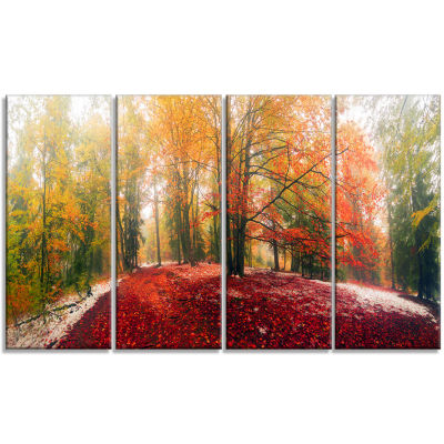 Designart Alpine Forest After Snowfall LandscapePhoto Canvas Art Print - 4 Panels