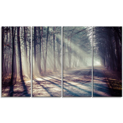 Design Art Morning Sunbeams To Forest Road Landscape Photography Canvas Print - 4 Panels