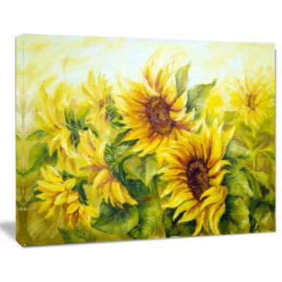 Designart Bright Yellow Sunny Sunflowers PaintingCanvas Wall Art