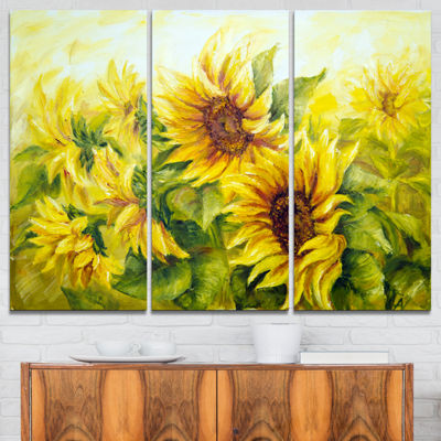 Designart Bright Yellow Sunny Sunflowers PaintingCanvas Wall Art - 3 Panels