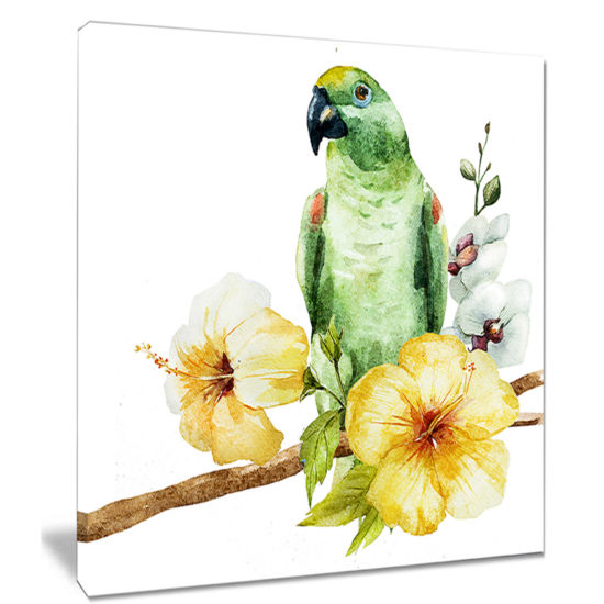 Designart Parrot With Flowers Watercolor PaintingCanvas Wall Art