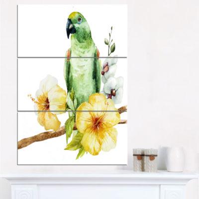 Designart Parrot With Flowers Watercolor PaintingCanvas Wall Art - 3 Panels