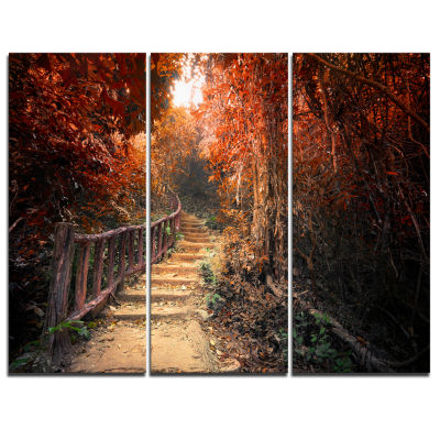 Design Art Stairway Through Red Fall Forest Landscape Photography Canvas Print - 3 Panels
