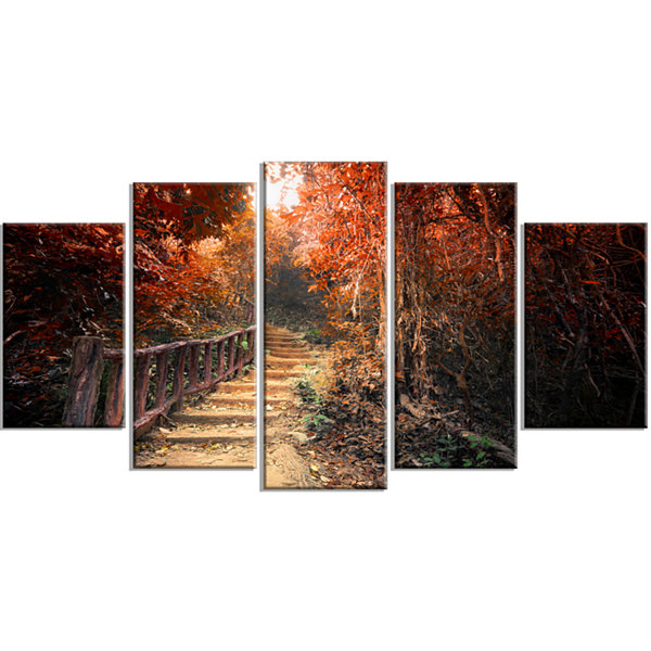 Designart Stairway Through Red Fall Forest Landscape Photography Canvas Print - 5 Panels