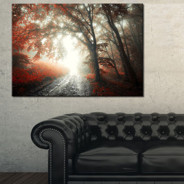 Designart Red Leaf On Tree In Foggy Forest Landscape Photography Canvas Print