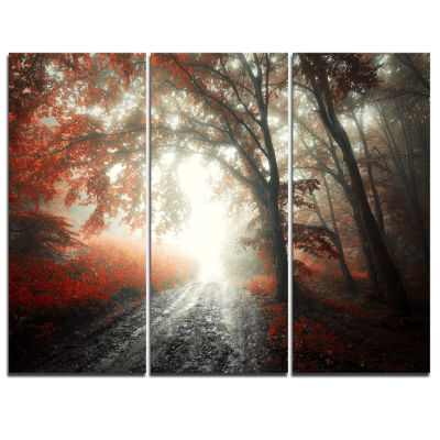 Design Art Red Leaf On Tree In Foggy Forest Landscape Photography Canvas Print - 3 Panels
