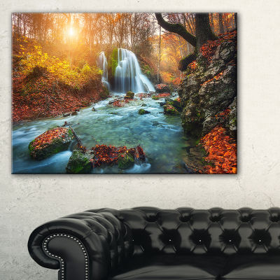 Designart Fast Flowing Fall River In Forest Landscape Photography Canvas Print