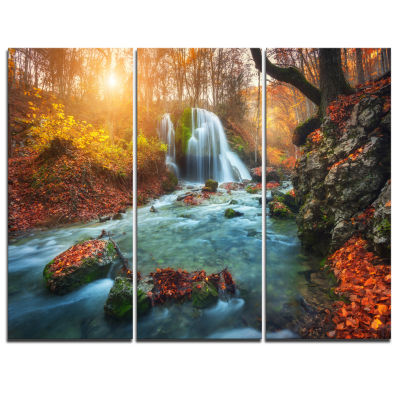 Design Art Fast Flowing Fall River In Forest Landscape Photography Canvas Print - 3 Panels
