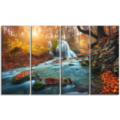 Designart Fast Flowing Fall River In Forest Landscape Photography Canvas Print - 4 Panels