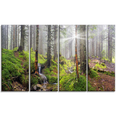 Designart Bright Green Carpathian Forest LandscapePhotography Canvas Print - 4 Panels